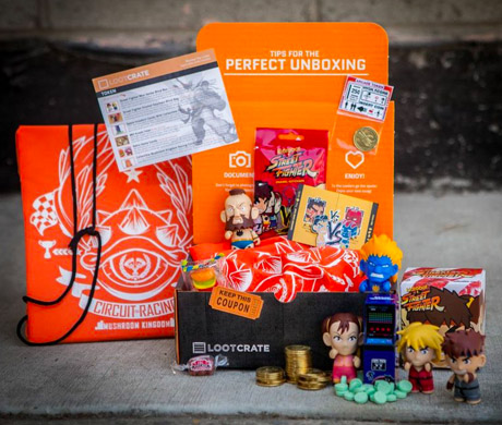 "Loot Crate's April 2013 ""Token""-themed crate with example items included inside"