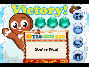 The victory screen seen after completing a level of Cake Nana, including won coins and gems.