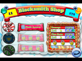 The upgradeable weapons portion of the Blacksmith Shop in the Cake Nana in-game store. Weapons can have their damage or their firing rate upgraded to destroy enemies faster.