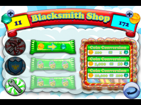 Coins won after a completed level in Cake Nana can be converted to gems, used for upgrading weapons or purchasing specials.