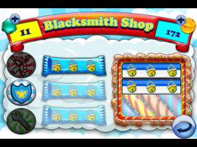 """The specials section of the Cake Nana in-app store, the """"Blacksmith Shop."""" Special attacks and defenses can be unlocked here."""