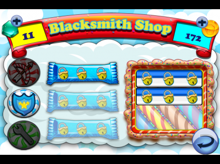 """The in-game """"shop"""" for Cake Nana, featuring upgradable weapons, special moves, and coin to gem conversion."""