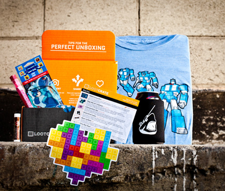 "Loot Crate's January ""Doctor""-themed crate with example items included inside"