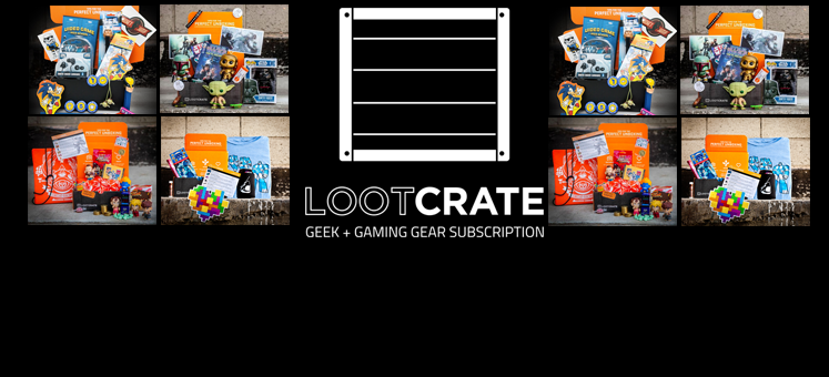 Loot Crate subscription box logo and example crates